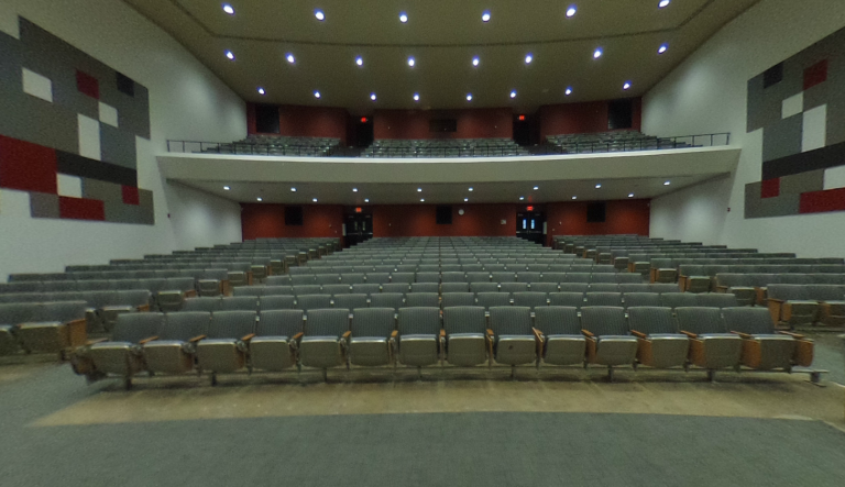 Photo of seating in a large lecture hall (Hitchcock Hall room 131)