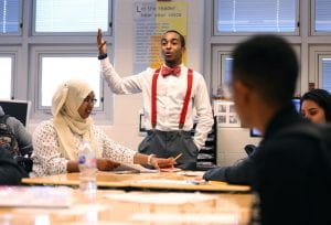 A student presents to the class