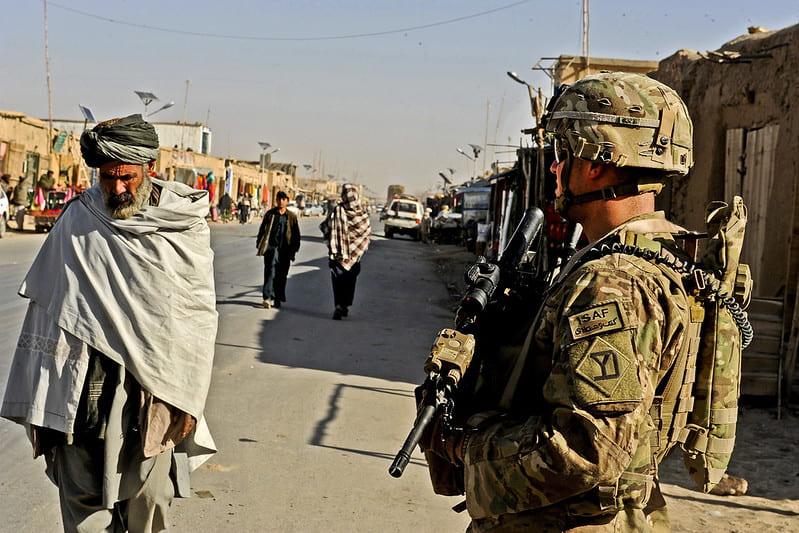 Image of Afghan Bazaar, U.S. Soldier