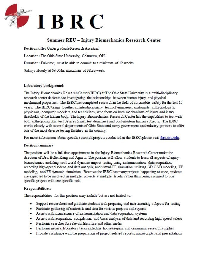 Undergrad Research Assistant position in Biomechanics! | HRS