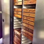 Open collection cabinet showing insect drawers.