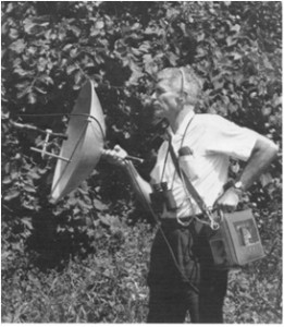 Dr Donald Borror recording bird sounds with a sound parabola