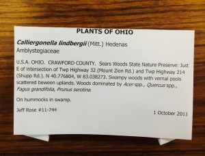 Typical information on face of a bryophyte packet, in this case, a packet of a moss from Crawford County, Ohio.
