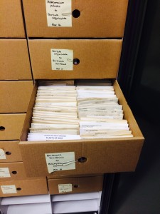 Flat boxes store bryophyte packets inside herbarium cases.