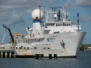 NOAA Ship Okeanos Explorer berthed at the NOAA Ford Island facility located in the middle of Pearl Harbor, Hawaii. Image courtesy of NOAA Office of Ocean Exploration and Research.