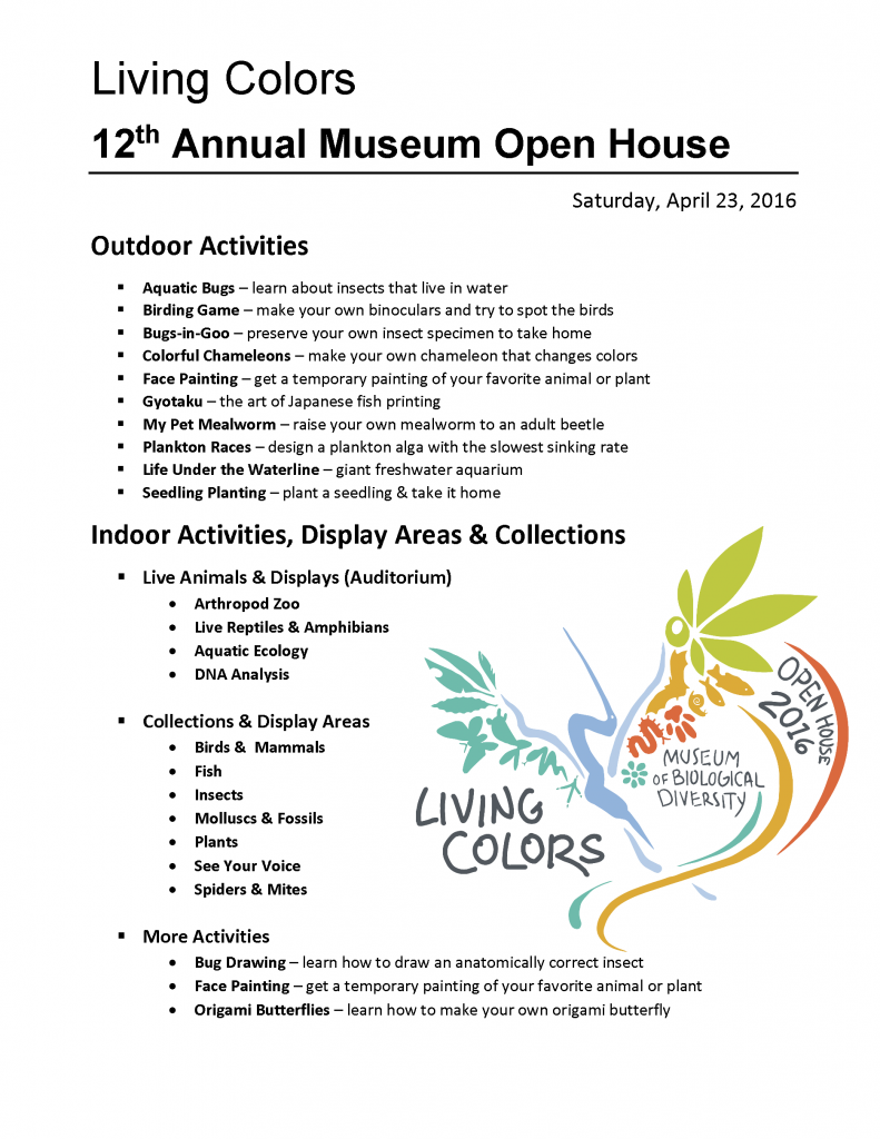 Guide to the collections, displays areas and activities of the 2016 Museum Open House.
