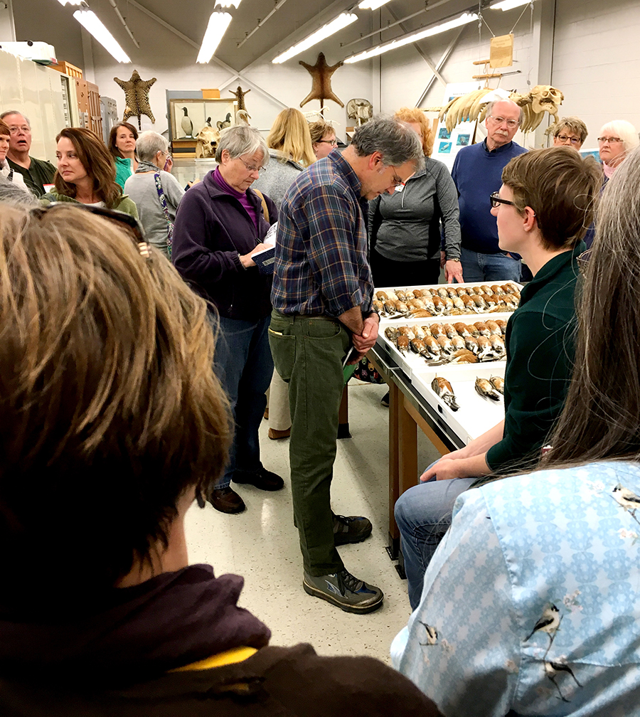 Visitors with Stephanie Malinich at the Tetrapod collection