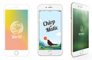 bird song recognition apps: Warblr, Chirpomatic, Birdgenie