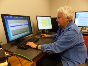 Sandy Gaunt digitizing in the Borror lab