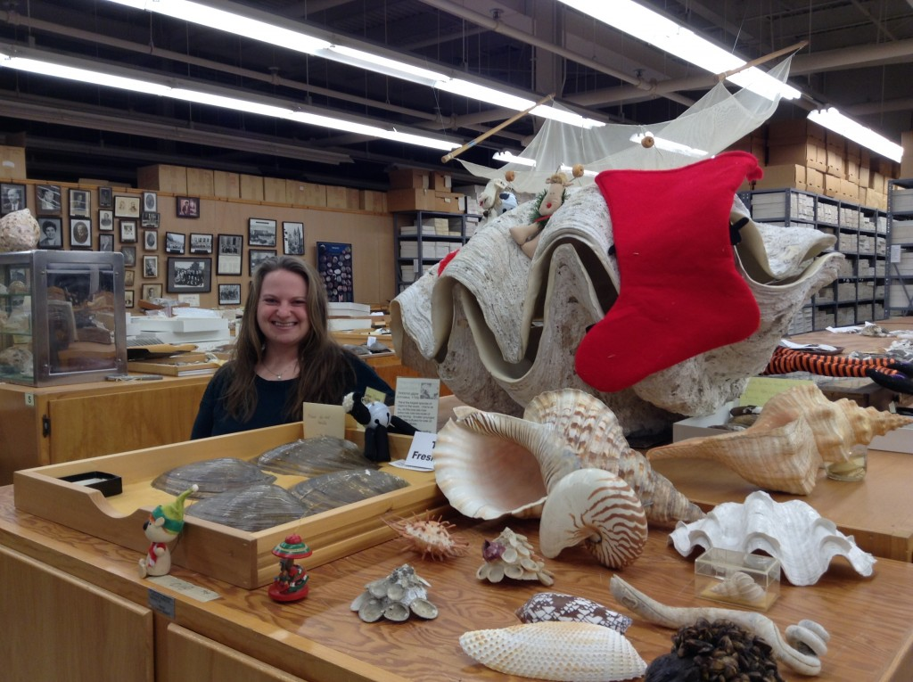 Caitlin Byrne, collections manager, next to the giant clam