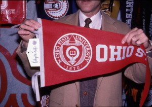 A pennant containing the official seal of The Ohio State University.