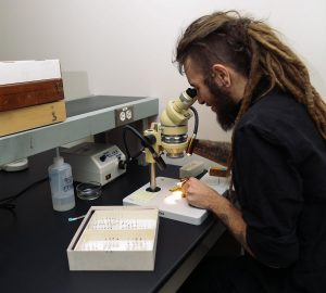 Cody working at microscope