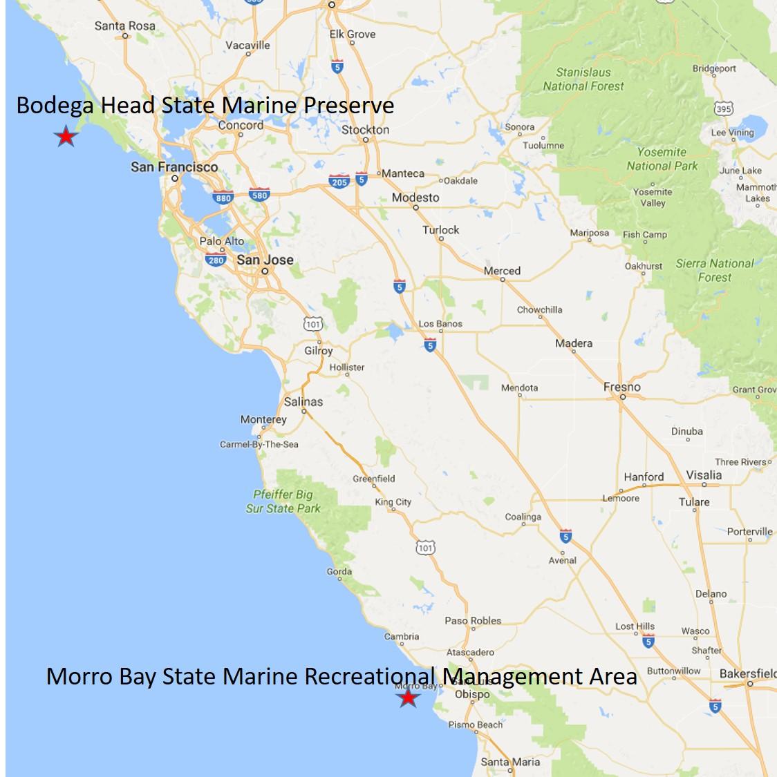 Map of California coast from Bodega Head to Morror Bay
