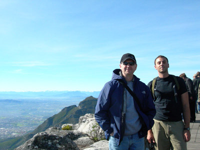 Norm Johnson and Elijah Talamas on top of Table Mountain, Cape Town, South Africa in 2008.