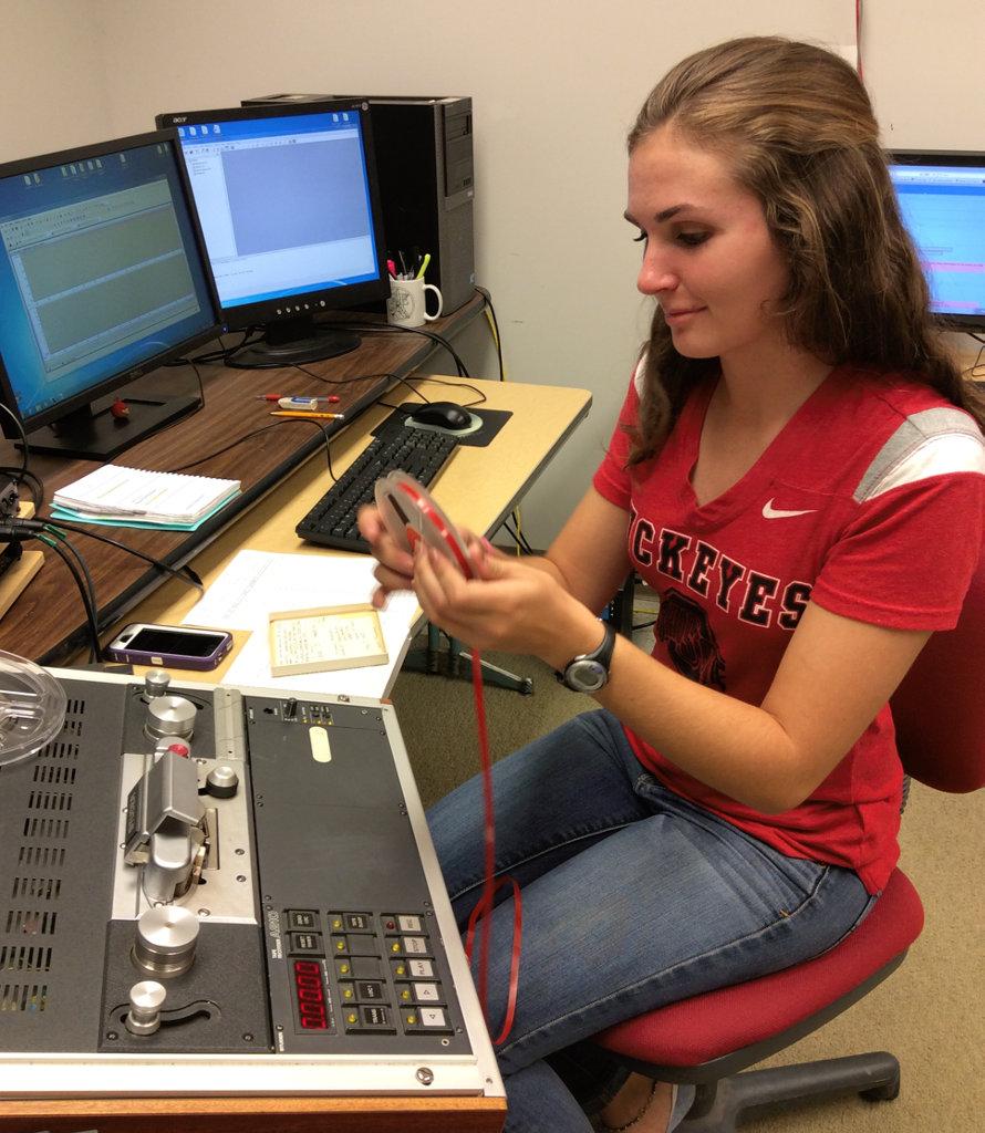 Kandace Glanville digitizing animal sound recordings
