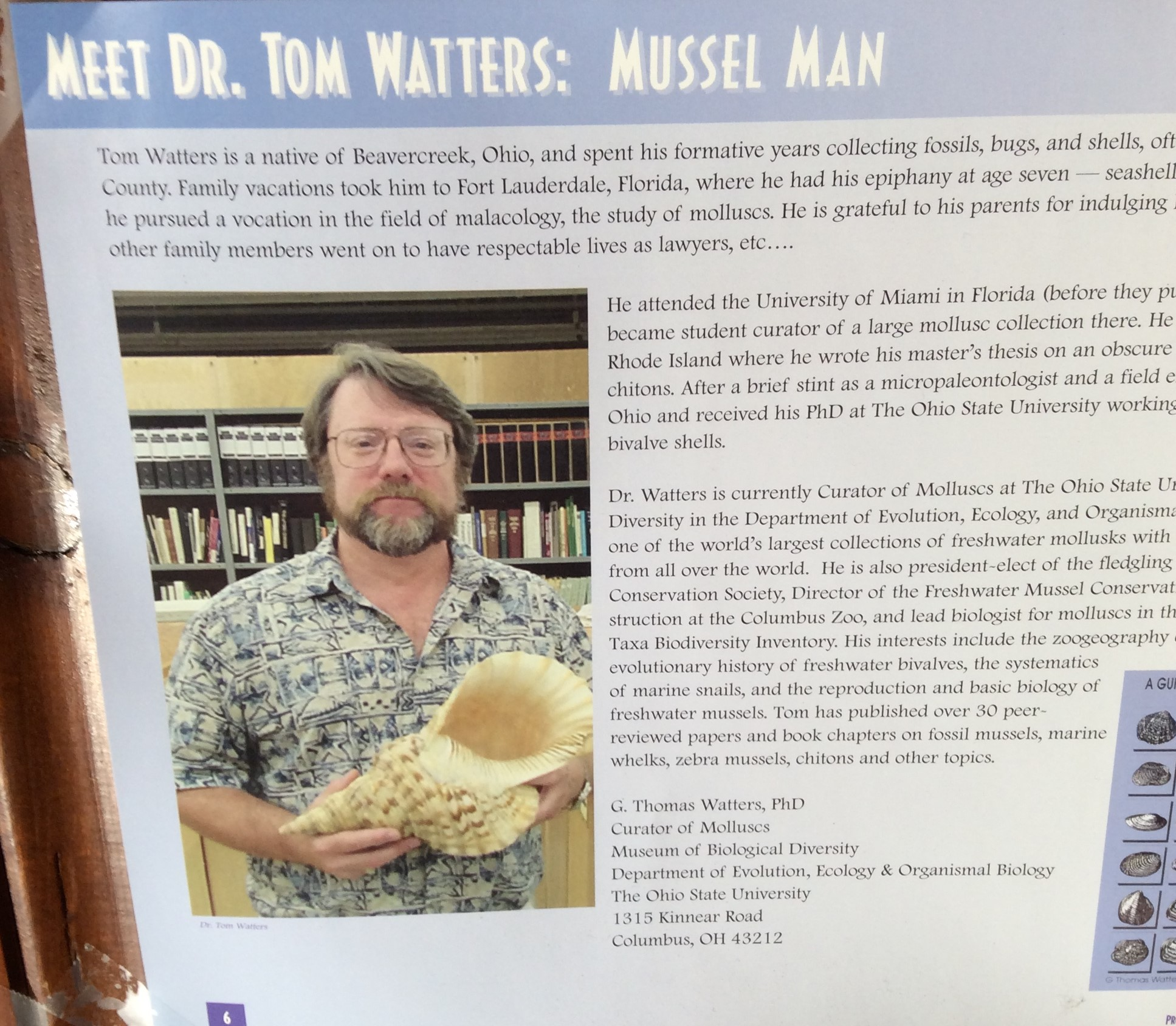 poster - Meet Dr. Tom Watters: mussel man