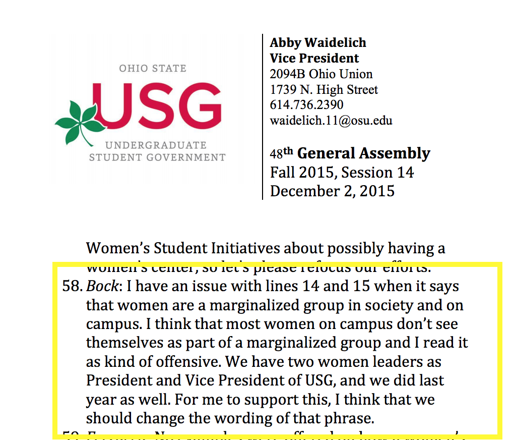 USG women not marginalized_annotated