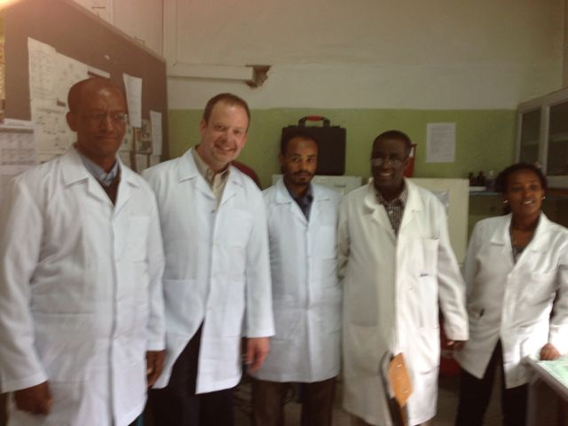 From left to right:  Ohio State's Baye Molla, DVM, PhD, and Tim Landers, RN, PhD along with University of Gondar's Wubet Birhan, head, School of Biomedical and Laboratory Sciences, Kassie Molla, head, microbiology laboratory, and Tigist Feleke, lab technologist