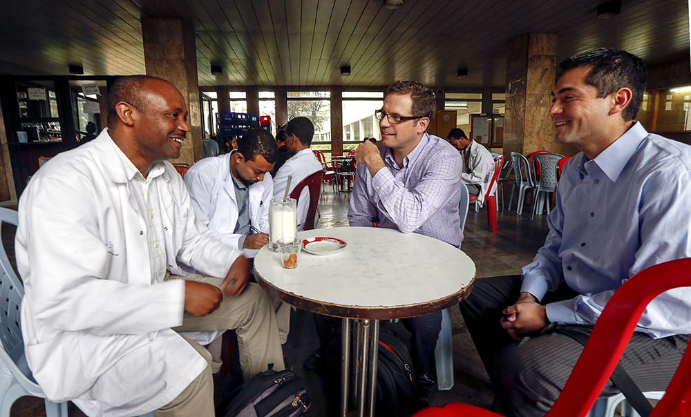 From left, Dr. Mersha, neurosurgery cheif, Dr. Ebenezer, Dr. Eric Sauvageau and Dr. Andrew Shaw enjoy coffee before making rounds at Tikur Anbessa (Black Lion) teaching medical center at Addis Ababa University.