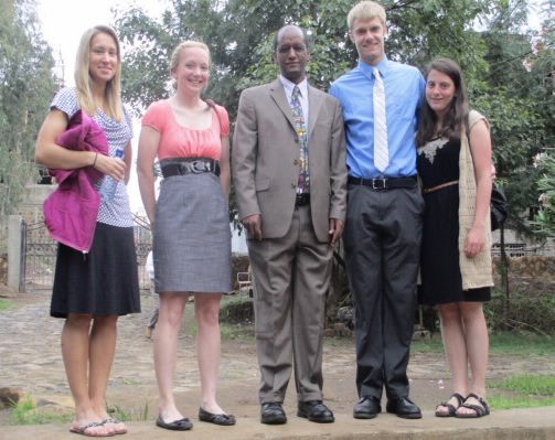 Dr.Baye Molla and the OSU students (Laura Binkely, Karissa Magnuson, Korbin Smith and Allyson Sterman) before getting to attend the graduation ceremony of the UoG  on July 6, 2013.