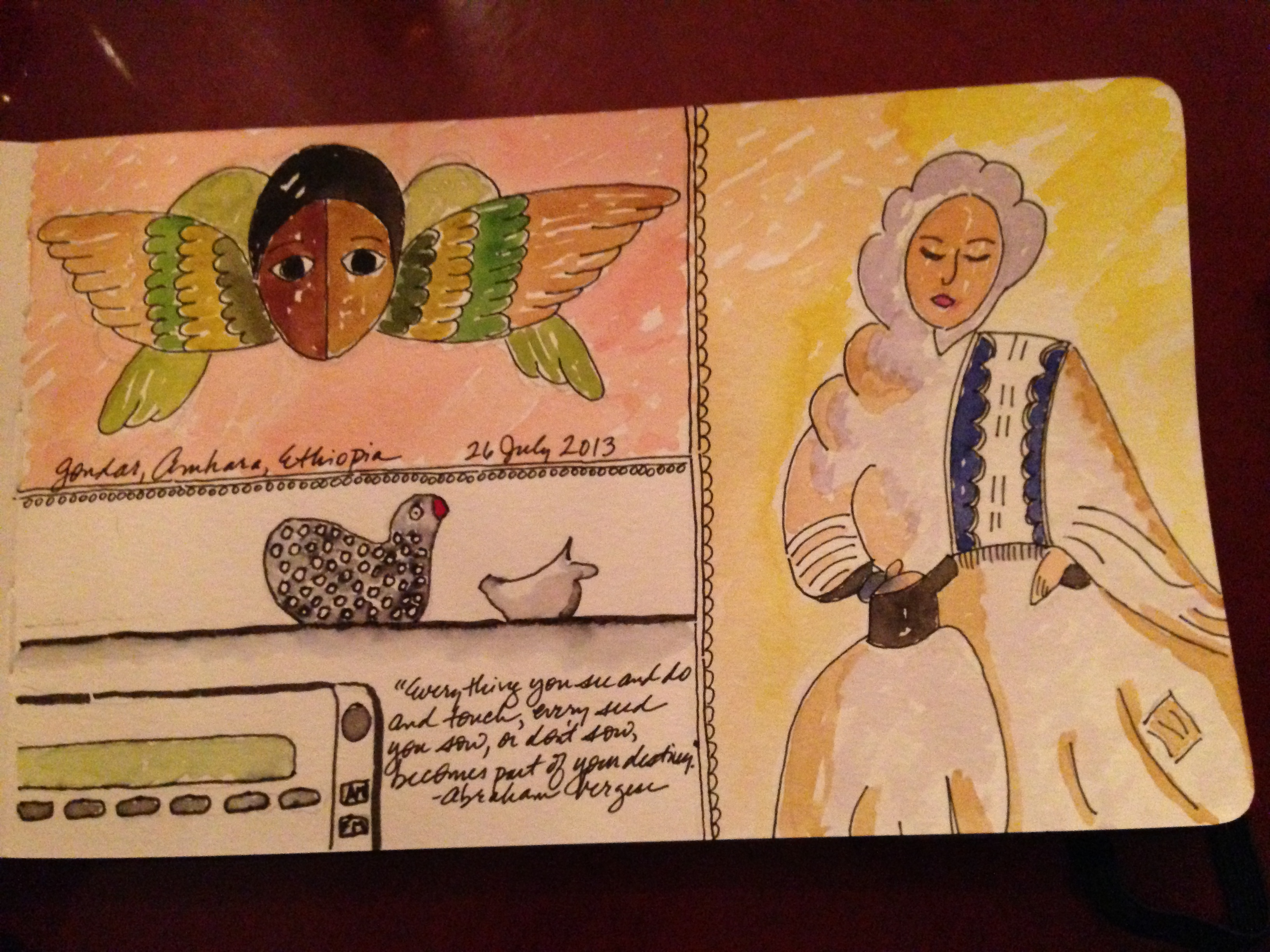 Watercolored images of Four Sisters (restaurant) and the transportation van's dashboard chickens (by Karla Zadnik)