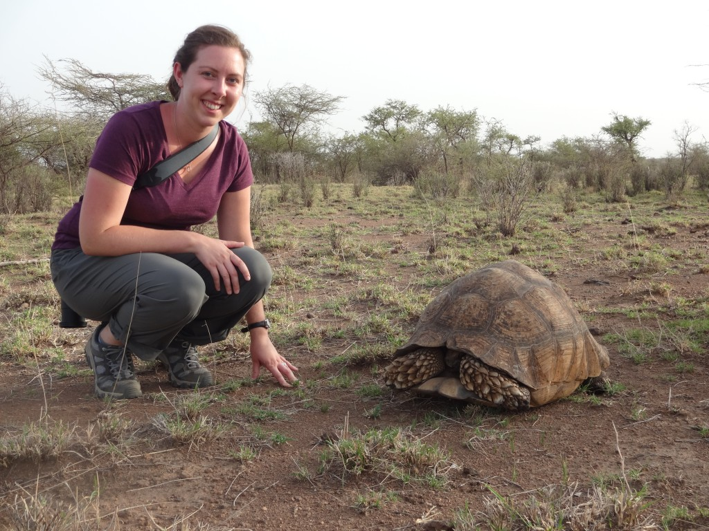 Kelsey and Giant Tortoise at Awash National Park