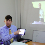 Cory Tressler demonstrates a video lecture