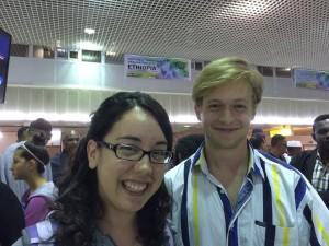 Joslyn and Dan awaiting passport control in Addis Ababa.