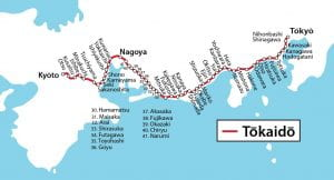 map of the Tokaido Road with all station numbers marked