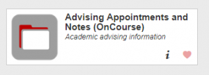 The academic advising information button on the Buckeye Link website takes students to the OnCourse log-in page.