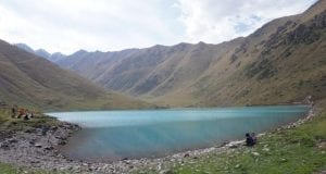 A blue lake between mountains