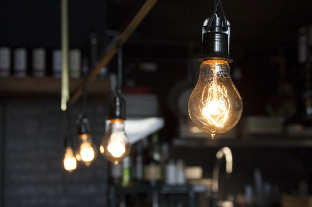 Edison-style light bulbs in a vintage coffee shop