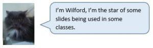 Wilford the Cat: I'm Wilford, I'm the star of some slides being used in some classes.