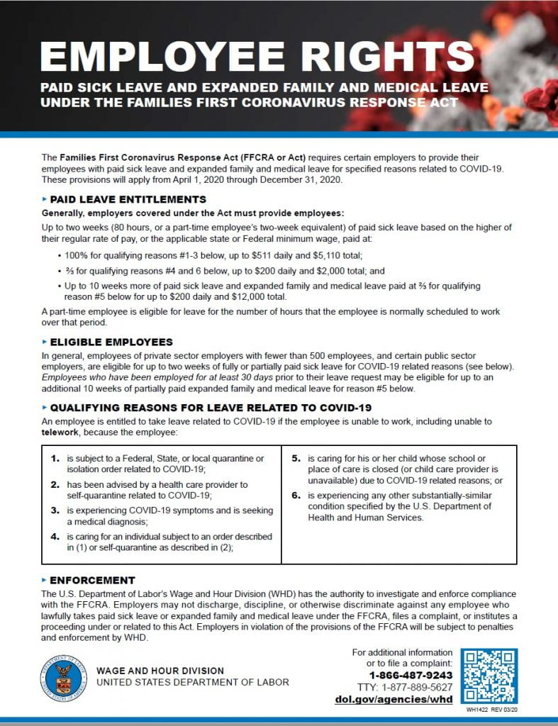 Preview of Families First Coronavirus Response Act (FFCRA or Act) Employee Rights poster - view PDF for full text