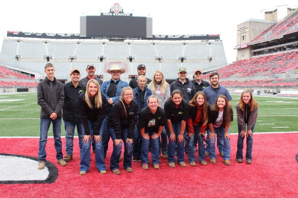 Students visit Ohio Stadium.