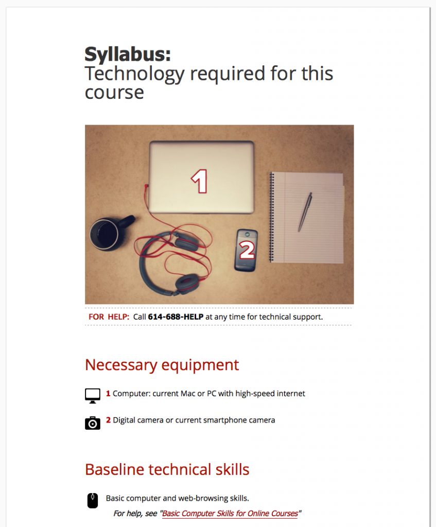 Screen Shot of technology requirements page in Carmen