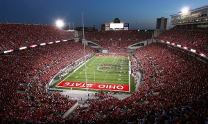 View of the packed Ohio Stadium during the pregame show.