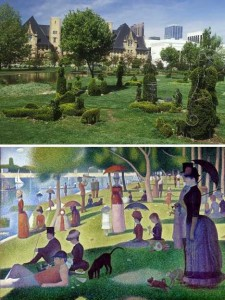 "This shows the Topiary Park in comparison to the painting by Georges Seurat, ""A Sunday on La Grande Jatte"""