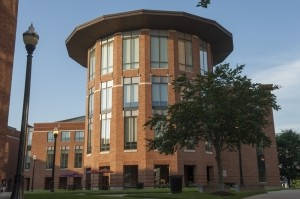 Exterior view of Mason Hall on the Fisher College of Business campus.