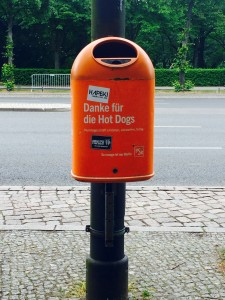 "German trash can that says ""Thank you for the Hot Dogs"""