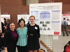 Graduate Student Rongfang Jia with undergraduate students Carly Smith and Hana Rovin at the 2014 OSU Denman Unddergraduate Research Forum