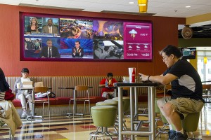 Many student unions have video walls displaying several sources at once that would otherwise not be consumable.