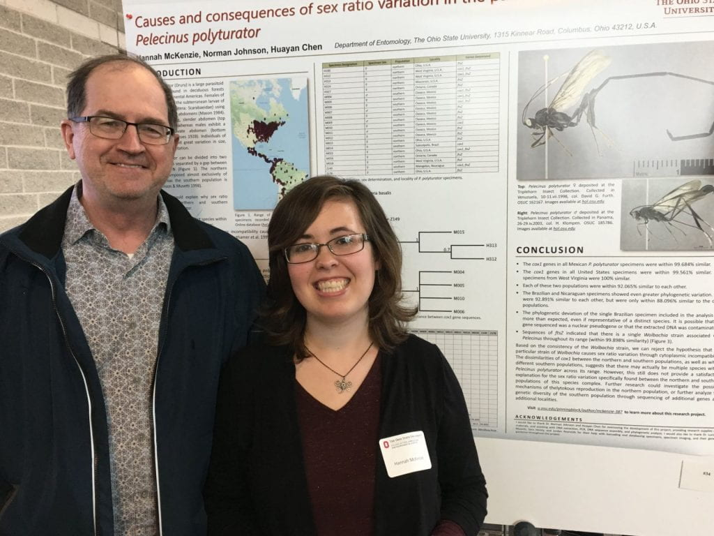 Hannah and Dr. Johnson with poster