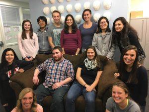 JG Lab - Fall 2015 (Top row: Janie, Jiageng, Marshall, Julie, Nonie, Xiaoli, Elyssa; Middle row: Avni, Dan, Anna, Marina; Front: Katie, Michela)