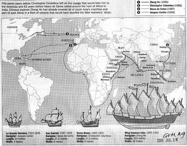Map Of The World Before Columbus.郑和 Admiral Zheng He Christopher Vs Columbus