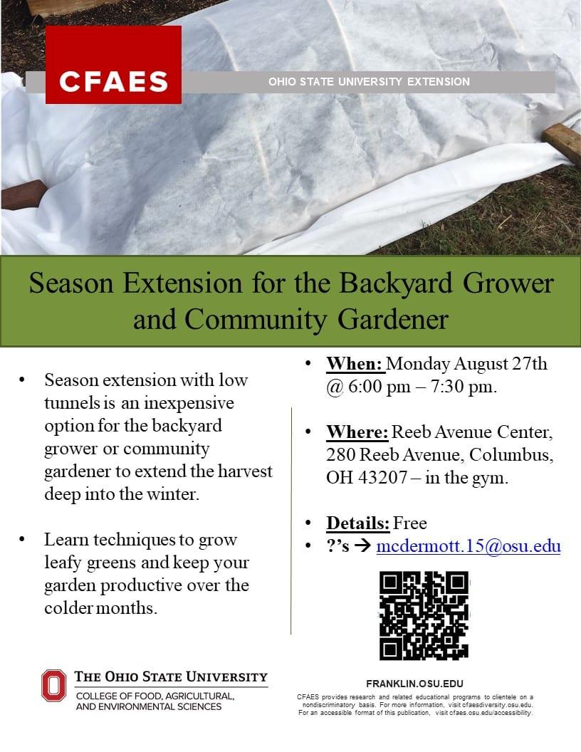 Season Extension For The Backyard Grower And Community Gardener