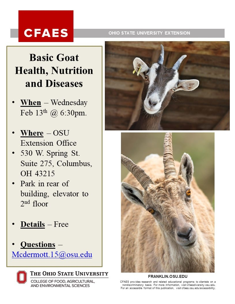 Basic Goat Health, Nutrition and Diseases Free Class on