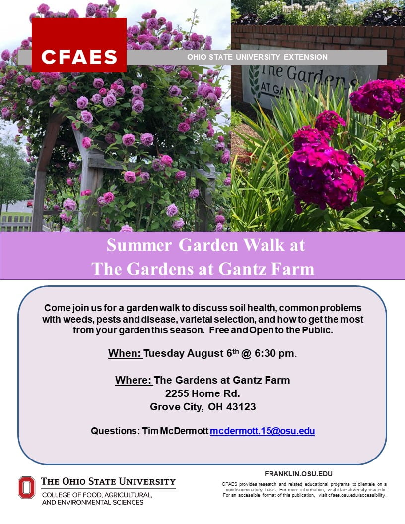 Garden Walk At The Gardens At Gantz Farm On Tuesday August 6th At 6 30 Pm Growing Franklin