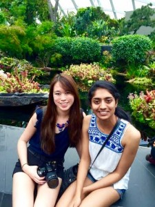 Amanda Etchison (left) and Pallavi Keole at the botanical gardens in Singapore.