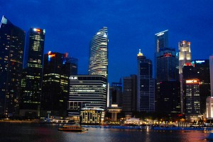 A view of Singapore's skyline at night. (Credit: Amanda Etchison)